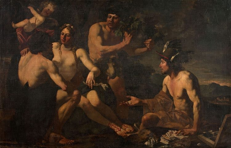 Attributed to Theodoor Rombouts,' Mars, Venus, Bacchus and Mercury', painting, put on sale by Masters Bernard Vassy and Philippe Jalenques, picture © Vassy-Jalenques