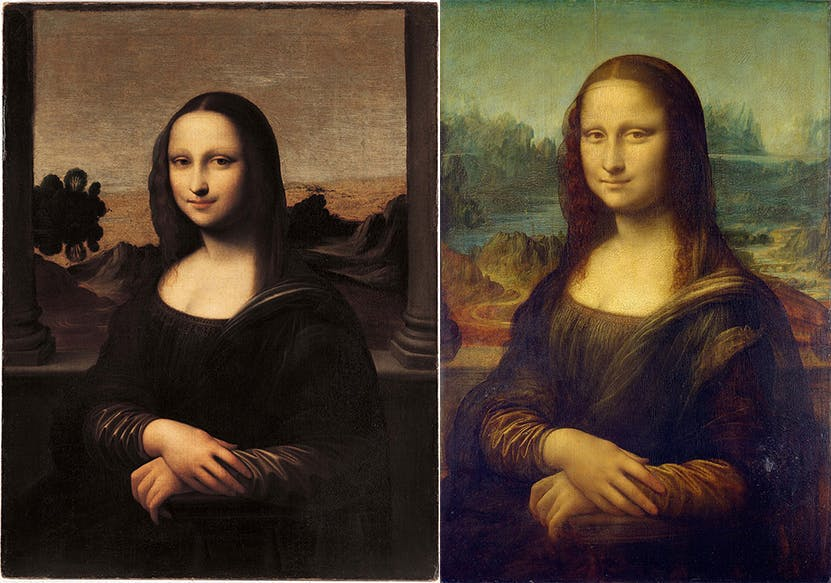 Both Mona Lisa's were painted in the sfumato technique, which had been perfected by Leonardo | Photos via Wikipedia