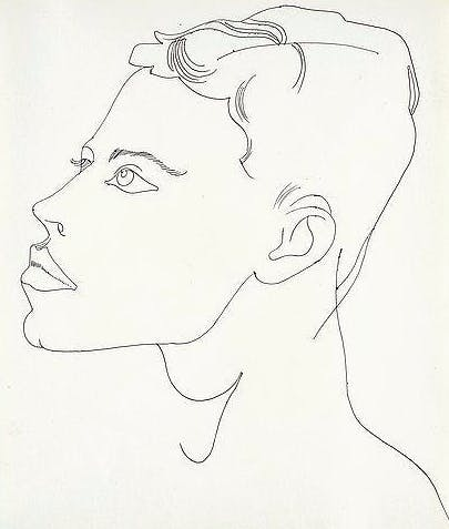 Andy Warhol - Unidentified Male, Kugelschreiber/Manila Papier, ca. 1956 Provenienz: The Estate of Andy Warhol, New York. The Andy Warhol Foundation for the Visual Arts, New York 2015 versteigert bei Bukowskis für ca. 19.000 EUR