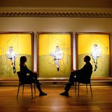 Triptych by Bacon for sale...Visitors view 'Three Studies of Lucian Freud', by Francis Bacon, at Christie's, in central London. PRESS ASSOCIATION Photo. Picture date: Thursday October 10, 2013. The triptych, which has never been seen before in the UK, is being exhibited at Christie s King Street during Frieze Art Week from October 13-18, before being auctioned in New York on November 12. Photo credit should read: Dominic Lipinski/PA Wire