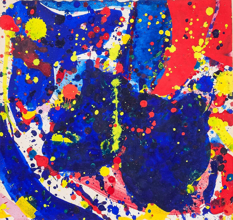 Composition in red, blue and yellow, Sam Francis. 1960, gouache on paper.