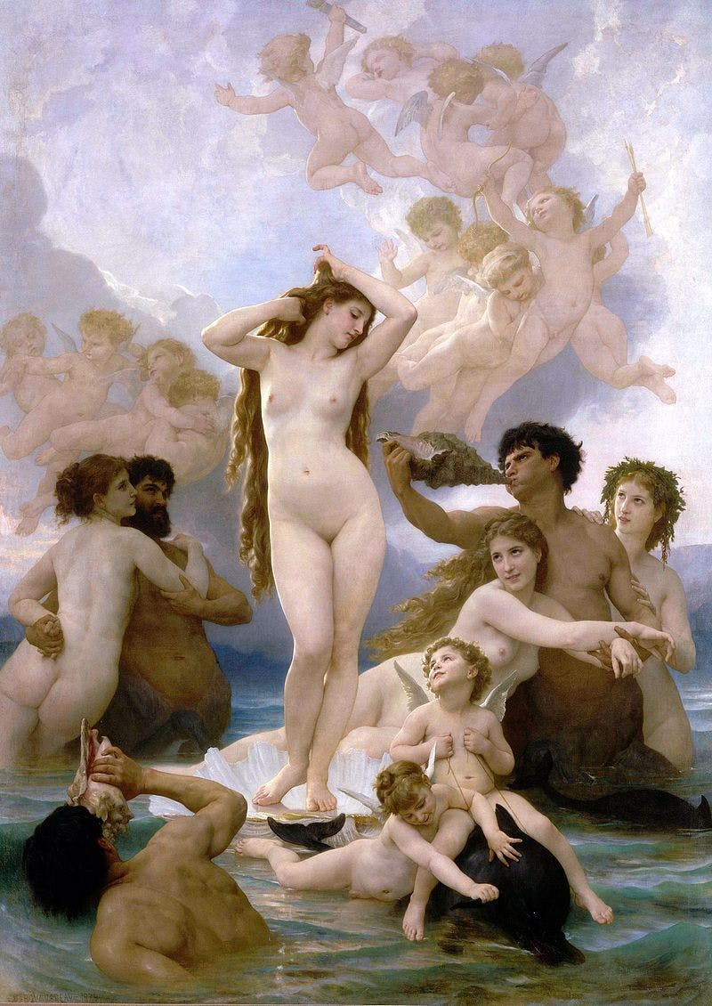 The Birth of Venus, William Bouguereau. 1879, olja på duk. Bild: Musee d'Orsay