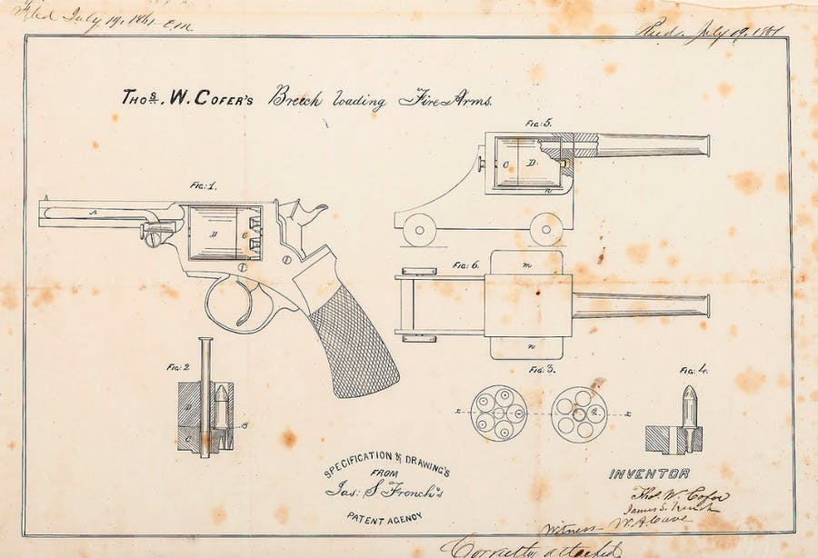 Confederate States Patent Documents Relating to Thos. W. Cofer's Revolver
