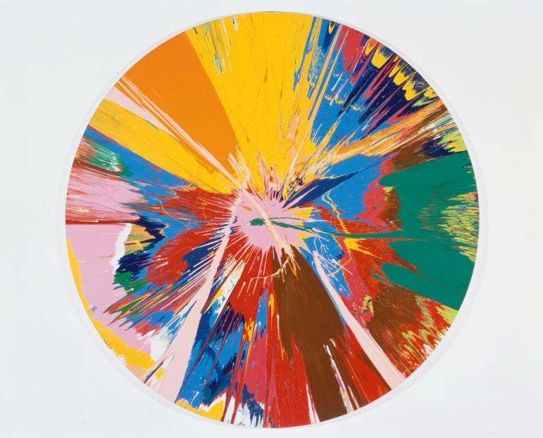Damien Hirst, Beautiful, shattering, slashing, violent, pinky, hacking, sphincter painting (1995) Photo: courtesy of White Cube ©Damien Hirst and Science Ltd. All rights reserved, DACS 2012.