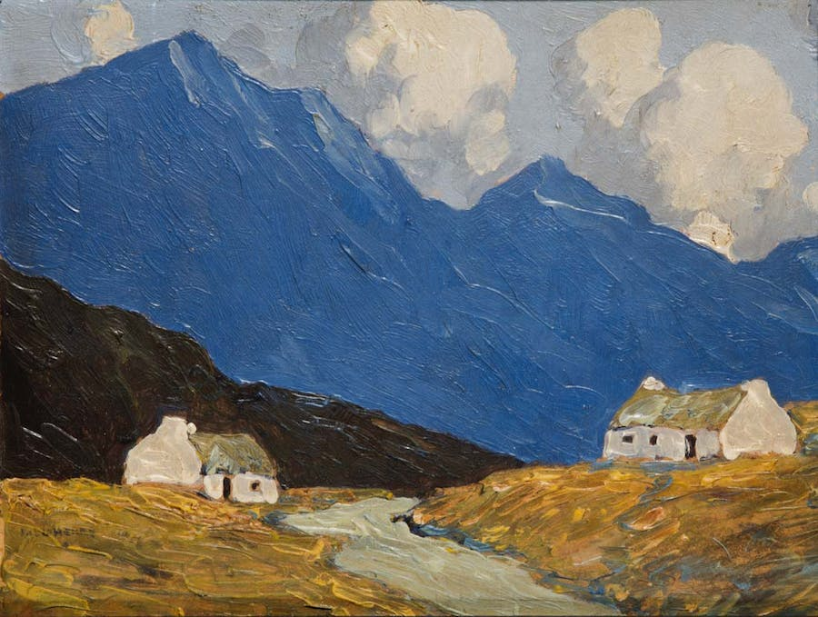 Paul Henry RHA, 1876-1958, Cottages in the West, Schätzpreis €20000 - €30000  Öl auf Panel, 19 x 25.5cm,  signiert, Lot 12