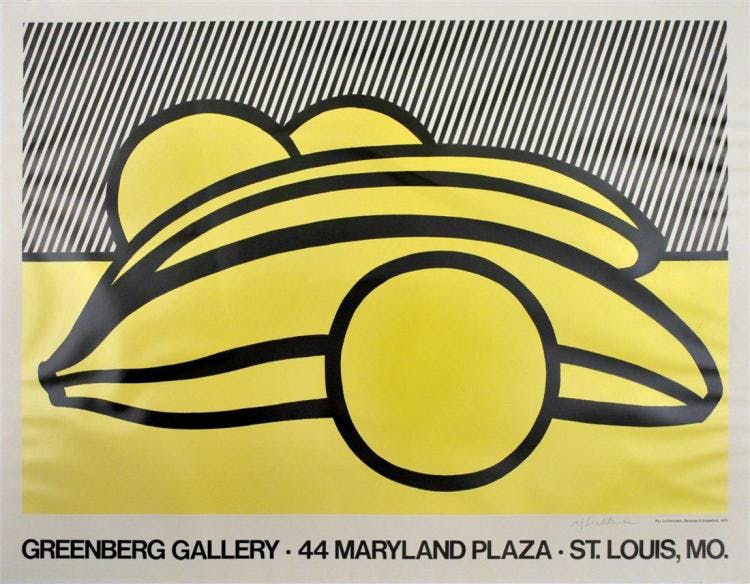 Roy Lichtenstein, Bananas and Grapefruit, 1973, lithographie, édition non numérotée Stanford Auctioneers