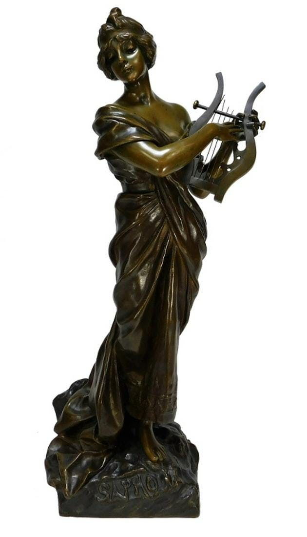 Finely cast sculpture of the Greek poet Sappho by Emmanuel Villanis (French, 1858-1914), on a base and with an overall height of 28 ½ inches (est. $2,500-$4,000).