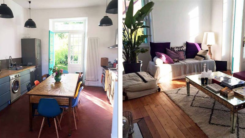 Left: the kitchen, right: the living room. Images: Airbnb