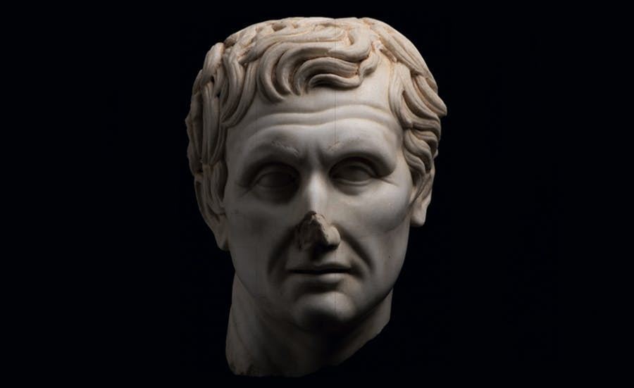 Menander head made of fine-grained white marble, 2nd century BC. Image © HVMC