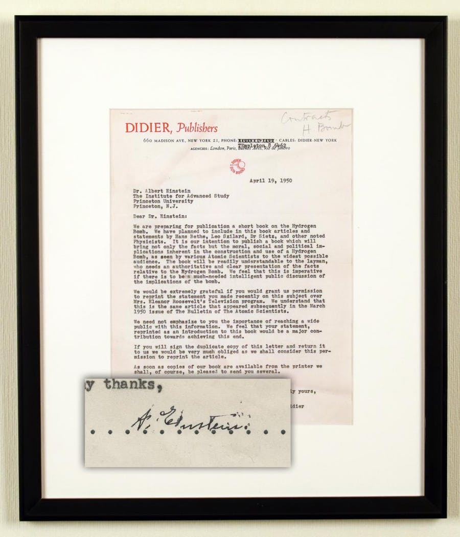 """One-page letter typed and signed by Albert Einstein, regarding """"the moral, social and political implications inherent in the construction and use of a Hydrogen Bomb,"""" (est. $9,000-$10,000)."""
