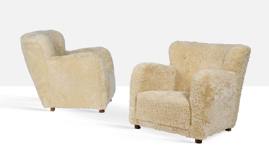 Attribute to Fleming Lassen, Pair of Armchairs, c. 1940. Photo: © Aguttes