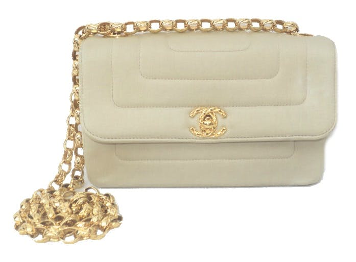 CHANEL - Golden Sand Satin Single Flap CC Turn Lock Handbag, frühe 1990er Jahre