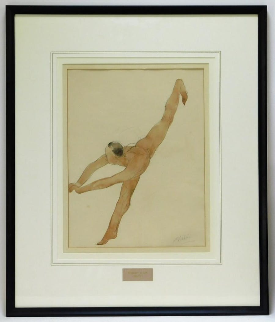 """Watercolor nude study by Auguste Rodin (French, 1840-1917), of a woman standing on one foot and leaning forward with her other leg in the air, signed """"A. Rodin"""" (est. $10,000-$15,000)."""