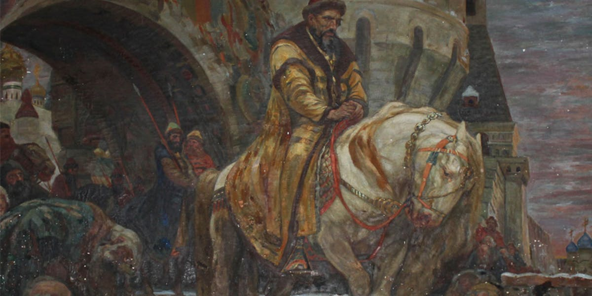 """Secret Departure of Ivan the Terrible Before the Oprichina,"" a 1911 oil on canvas by Mikhail Panin, was successfully returned to Ukraine on September 9, 2019 after it was stolen by the Nazis in 1941. Image: US Attorney Office"
