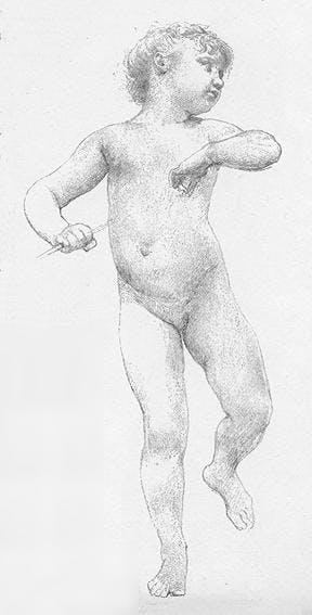 "William-Adolphe Bouguereau (1825 La Rochelle 1905), Studie eines Putto für ""La Jeunesse de Bacchus"" 