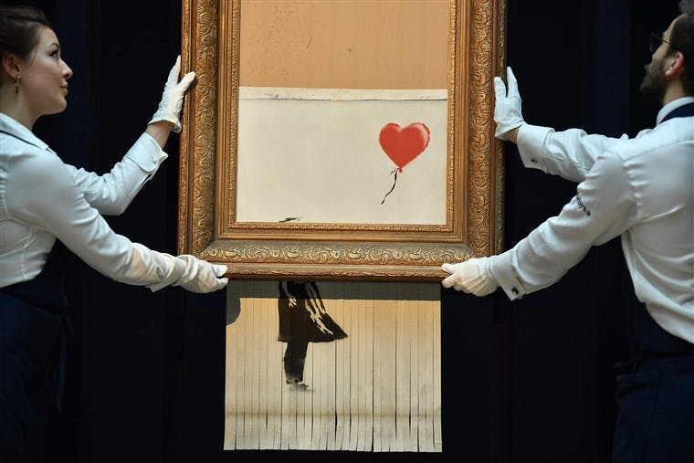 Banksy's 'Girl with Balloon' was shredded during a stunt at Sotheby's on 5 October 2018
