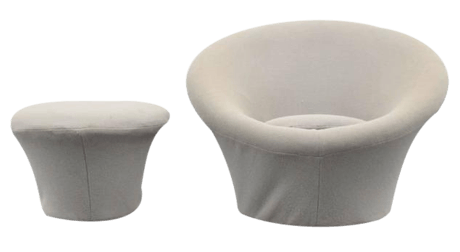 Pierre Paulin, Mushroom Chair and Ottoman, 1960, France Decaso