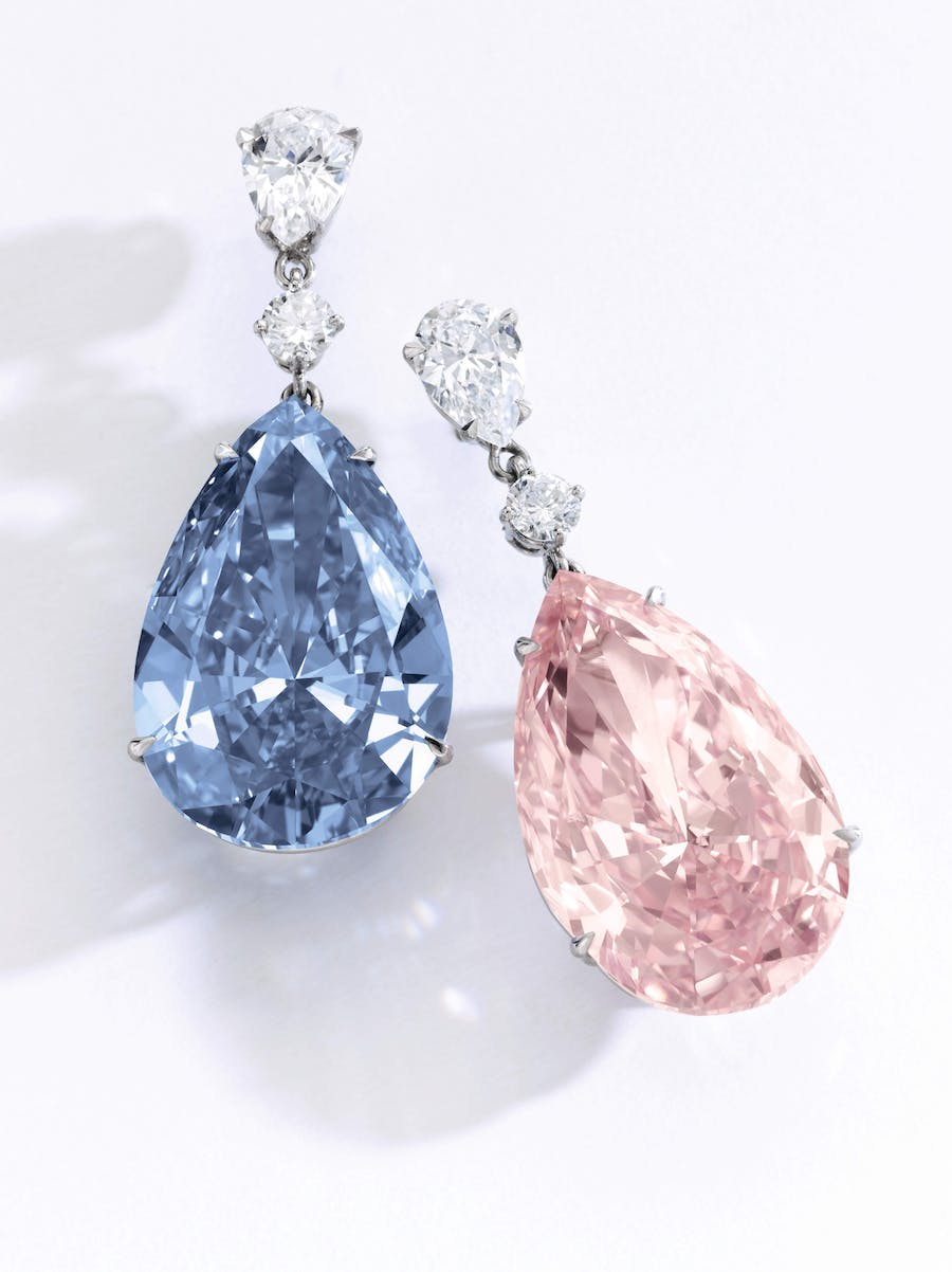 'THE APOLLO BLUE', Fancy Vivid Blue, 14.54 carats, Internally Flawless, Type IIb 'THE ARTEMIS PINK', Fancy Intense Pink, 16.00 carats VVS2 clarity, Type IIa