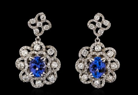 Boucles d'oreilles tanzanite, diamants et or blanc