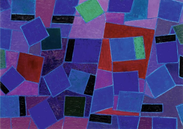 Johannes Itten, 'Squares in Motion', oil, signed and dated, 1958. Photo: Koller
