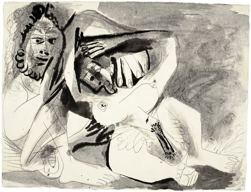 Pablo Picasso, Homme et femme nus, signed Picasso and dated 29.11.71. Executed on 29th November 1971 Image: Sotheby's