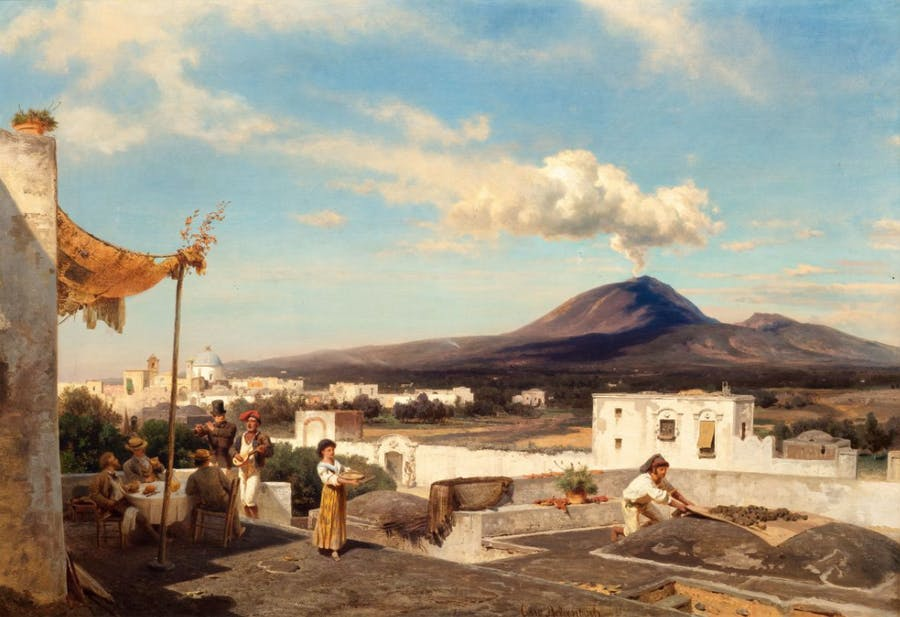 Oswald Achenbach, Joyful gathering in the Campagna with a view of Vesuvius, huile sur toile, image ©Koller