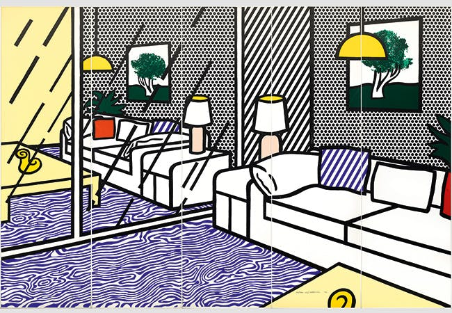 "ROY LICHTENSTEIN (1923 New York 1997) - ""Wallpaper with Blue Floor Interior"", Farbserigraphie/Papier, 5 Paneele, nummeriert und signiert, 1992"