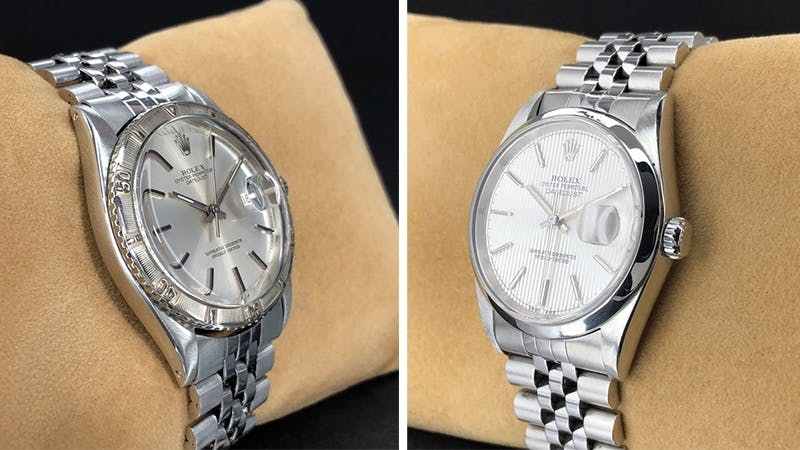 Links: Rolex Datejust Turn-O-Graph Thunderbird, Stahl, 1971 Rechts: Rolex Datejust Brushed Silver Tapestry Stick Dial, Stahl, 1999