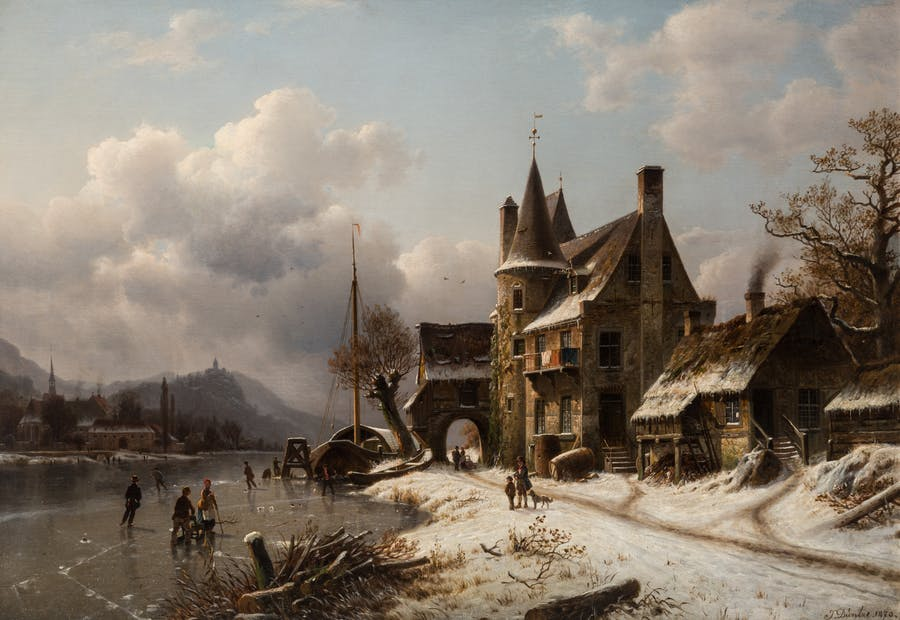 "Johannes Bartholomaus Duntze (Tyskland 1825-1895) ""Winter Scene with Skaters on a Frozen Canal"". Beräknat pris 8,000-12,000 dollar."