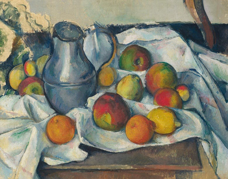 Paul Cézanne, Bouilloire et fruits, 1888-1890, image via Christie's