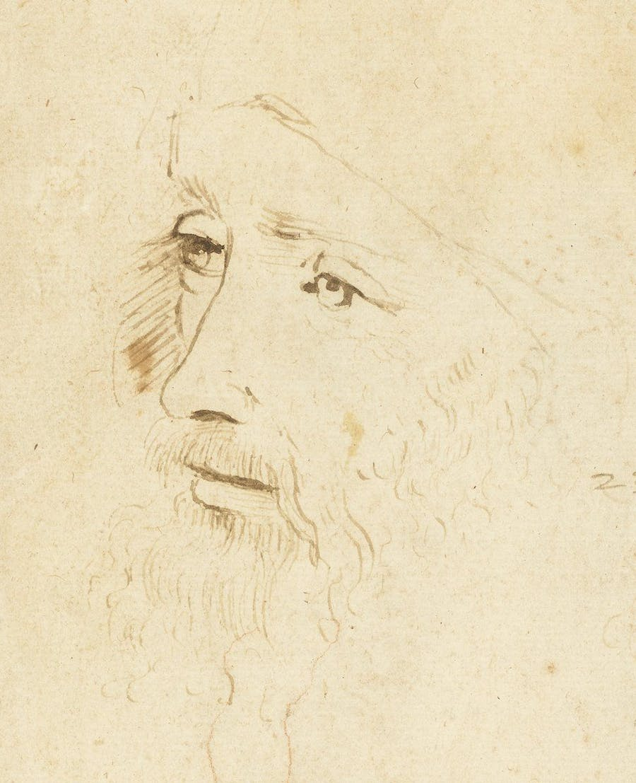 Possible portrait de Léonard de Vinci sur une feuille de croquis de la collection royale (détail), image © Royal Collection Trust  Esquisse, portrait de Léonard de Vinci (détail), ca. 1517–18, image Royal Collection Trust : © Her Majesty Queen Elizabeth II 2019