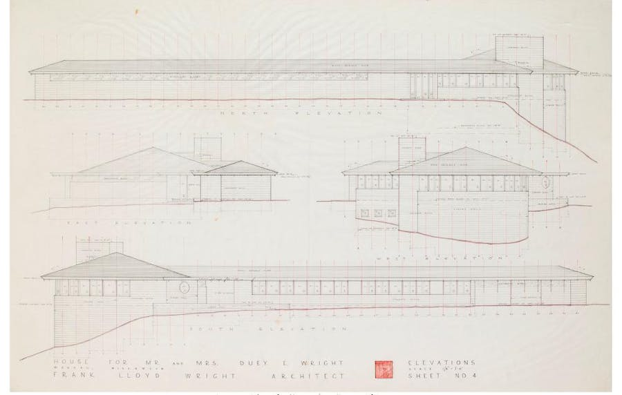 Impressive and large architectural drawing by Frank Lloyd Wright of the Duey Wright House in Wausau, Wisconsin, circa 1957, one of the famous designer's residences (est. $5,000-$6,000).