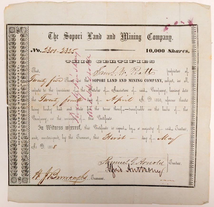 Stock certificate for the Sopori Land and Mining Company dated May 1, 1858 for 25 shares, issued to Samuel Pratt, with signatures of trustees and company treasurer (est. $2,100-$3,500).