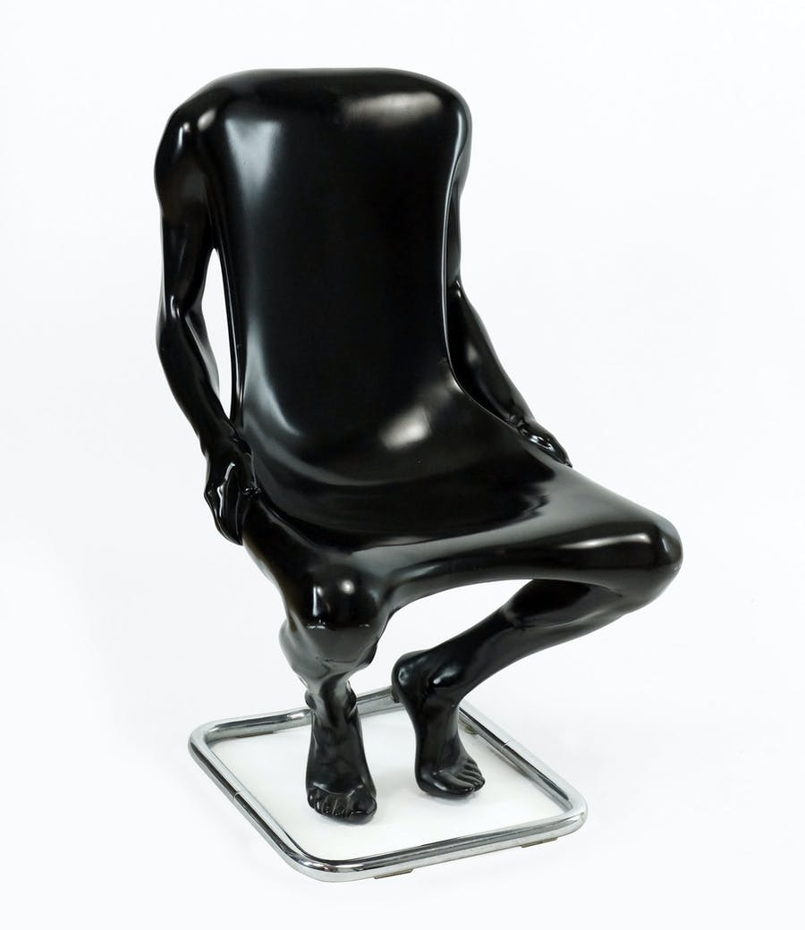 """Lacquered polyurethane Homme Chair (homme is French for """"man"""") with a tubular steel base by Ruth Francken (Czech-American, 1924-2006), executed in 1971 (est. $20,000-$30,000)."""