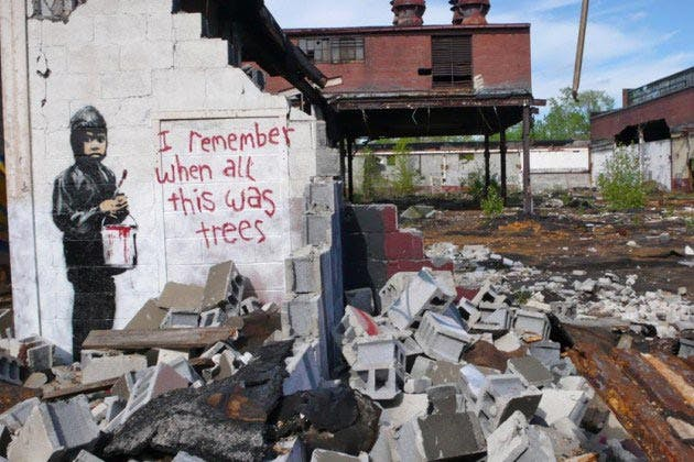 Banksy, I Remember When All This Was Trees (2010) Photo: Oxblood Ruffian