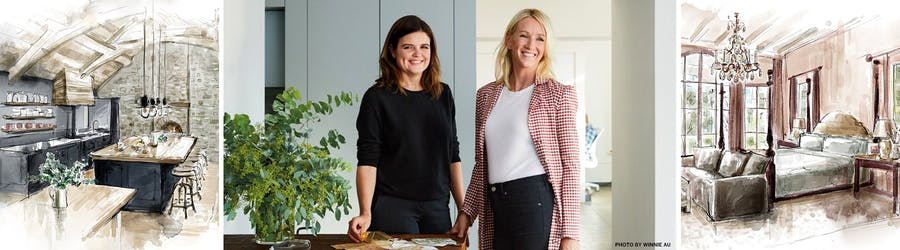 Image Caption: Center: Vicky Charles (left) and Julia Corden, the cofounders of Charles & Co. Photo by Winnie Au. Left and Right: Artist renderings of projects by the firm.