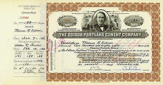 Edison Portland Cement Company State of New Jersey, 07.12.1926, 188 Shares á US-$ 50 Schätzpreis: 400-600 EUR