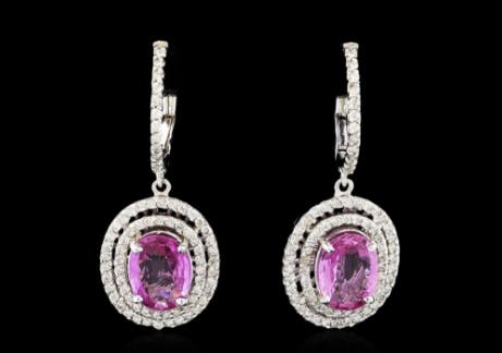 Boucles d'oreilles saphir rose de 2,75 cts et diamants - Or blanc 14 cts