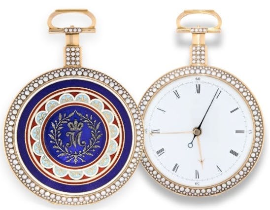 Historisch interessante Taschenuhr aus Gold mit Emaille, William Anthony, London 1796/97