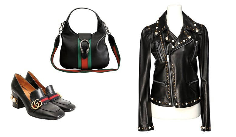 "Links: GUCCI Pumps Oben: GUCCI Hobo-Bag ""Dionysos"" Rechts: GUCCI Lederjacke im Bikerstil"
