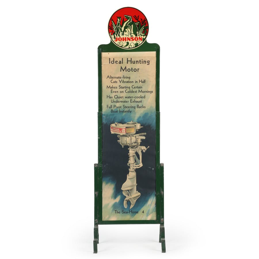 Circa 1929 Johnson Sea-Horse outboard motor store display, American, with tin litho frame and topper and lithographed paper insert, showing excellent color and gloss (est. CA$3,000-$4,000).