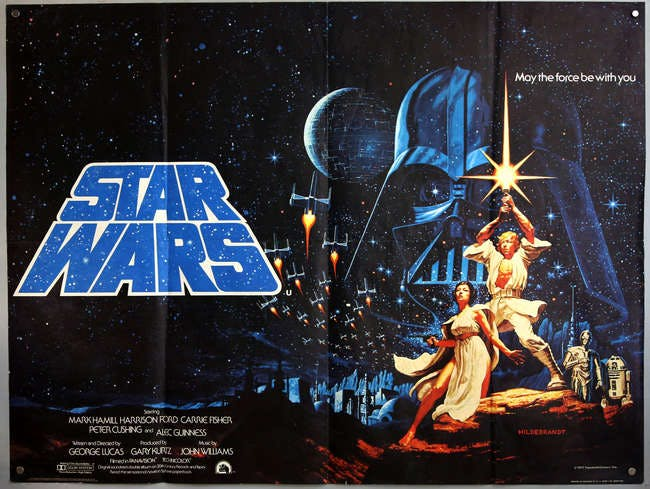 'Star Wars' 1977 British Quad film poster. Photo: Ewbank's