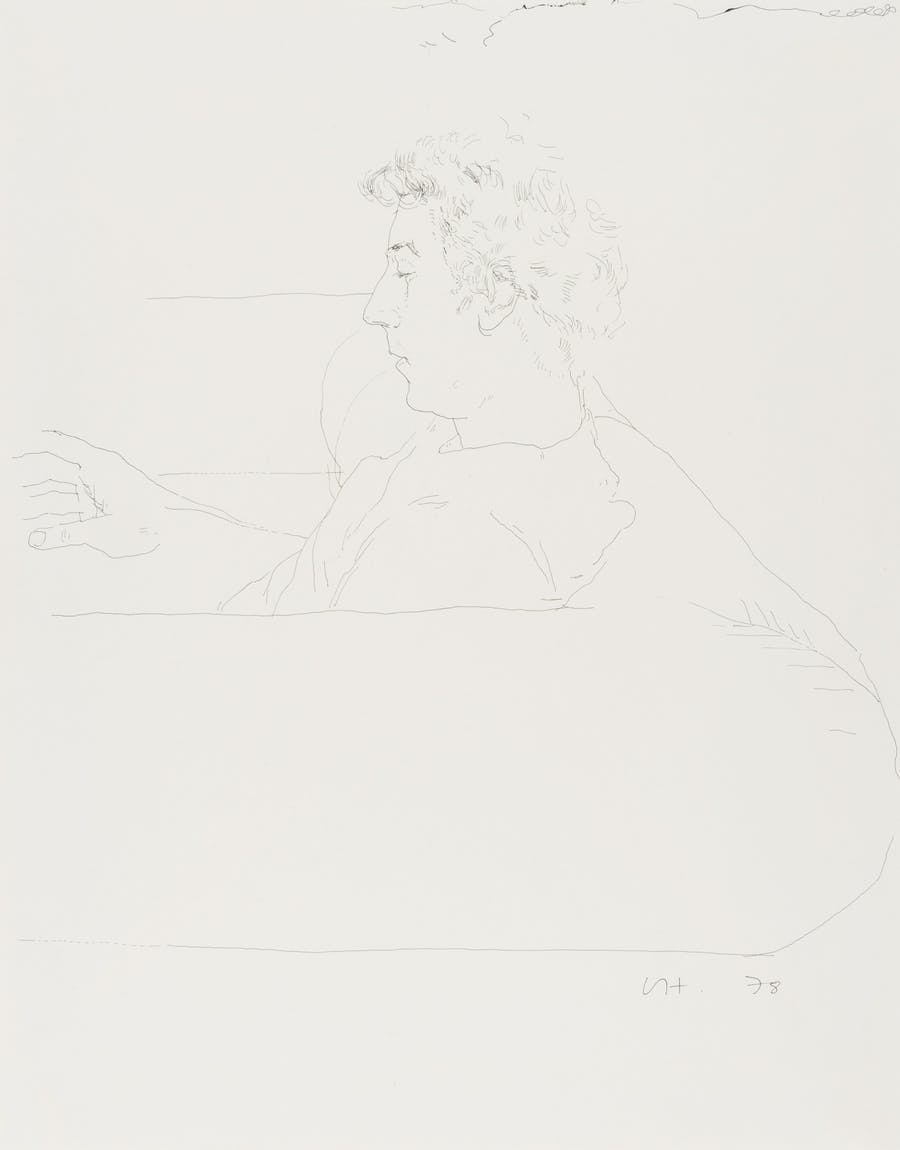 David Hockney, Gregory on a sofa, encre de Chine sur papier, 1978, 35.5 x 27.7 cm (14 x 10 7/8in) Estimation: £25 000-35 000
