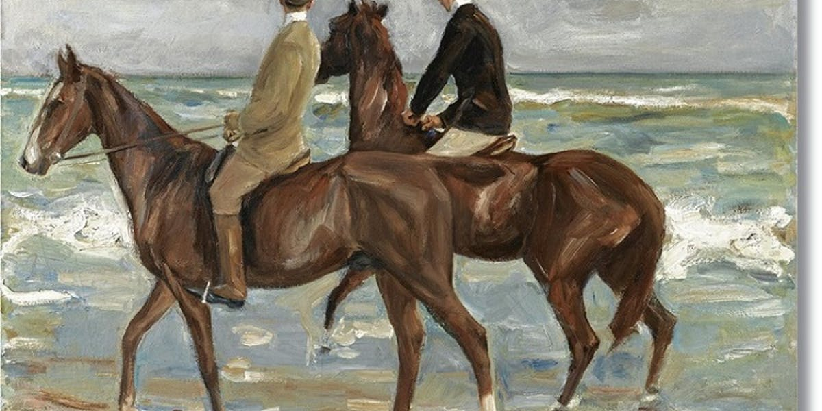 two-riders-on-the-beach-by-max-liebermann-reproduction