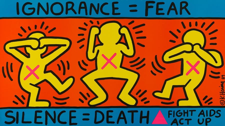 """KEITH HARING. """"Ignorance =Fear"""" (1989)"""