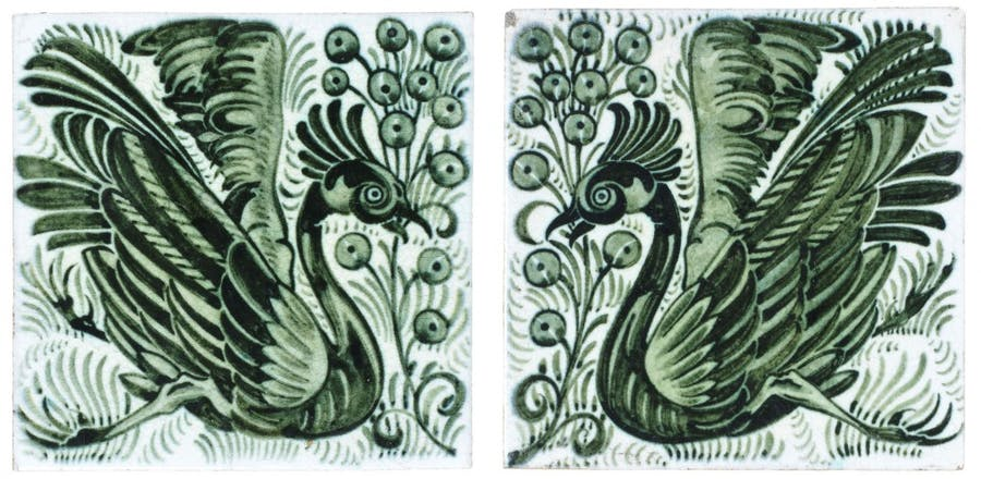 William De Morgan - Two Tile Panel with Exotic Birds and Fruiting Stems (1900)