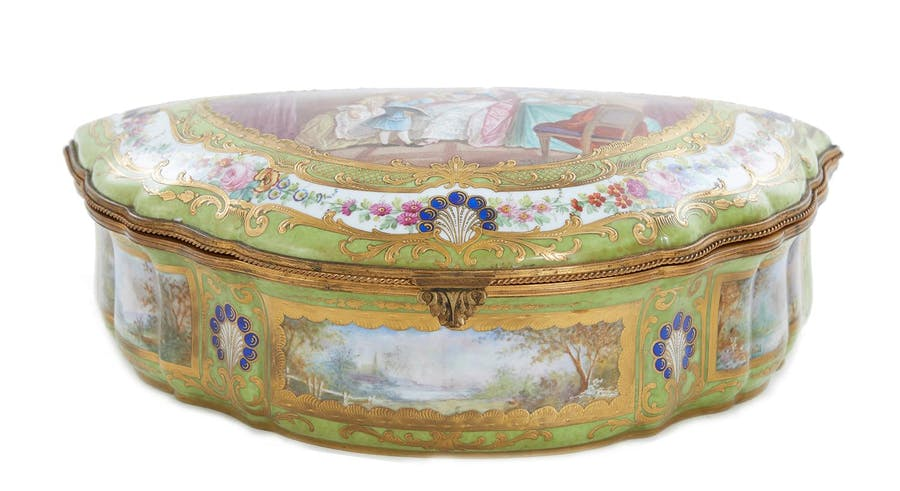 Sevres style gilt-metal mounted porcelain covered box