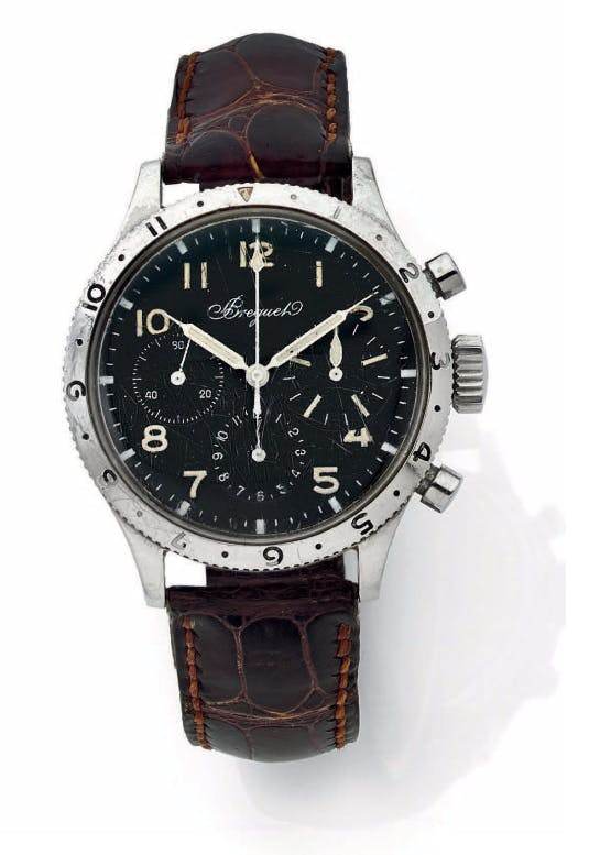 BREGUET Type 20. Flyback. Vendu en 1965. Mouvement base Valjoux 72, dispositif Flyback pour l'aviation. Image via Aguttes