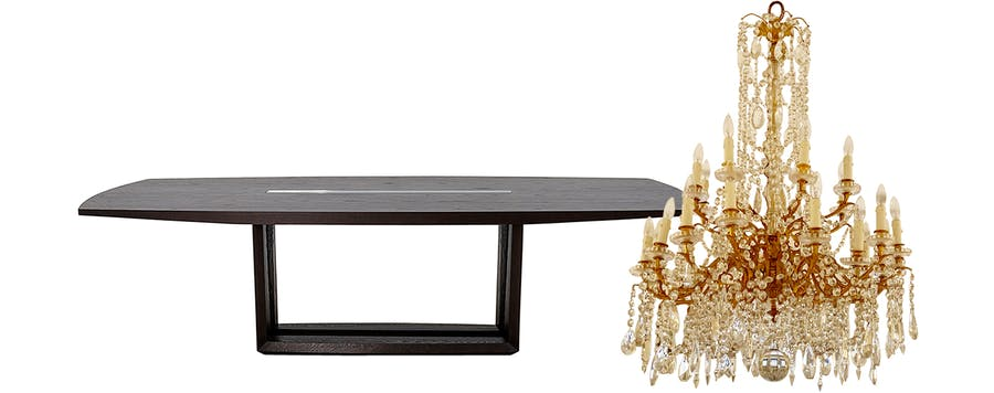 From Left: Hellman-Chang Parker Dining Table and Early-19th Century Empire Doré Chandelier.