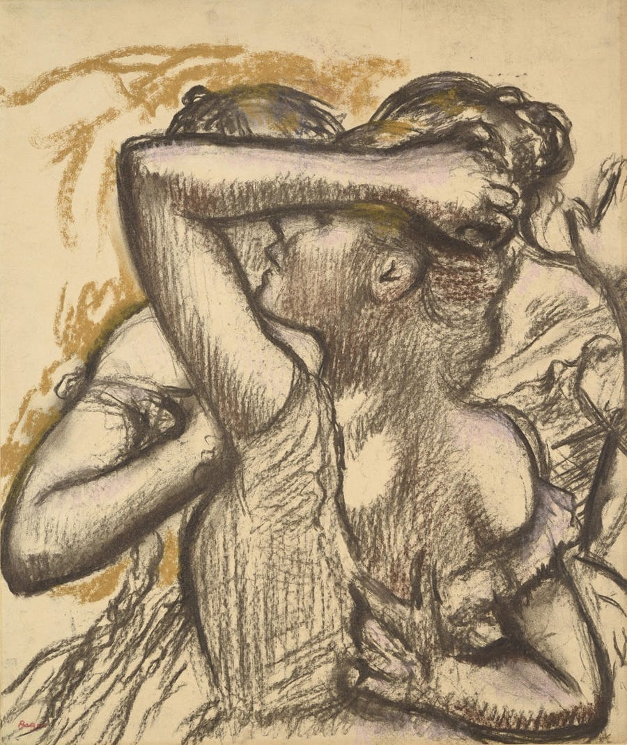 Three dancers in Bust, Edgar Degas. Pastel and charcoal on paper laminated on cardboard. Image © HVMC